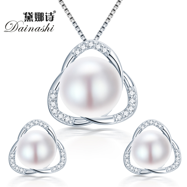 Dainashi Simple&elegant 925 sterling silver natural freshwater pearl jewelry set pendant&necklace and earrings WITH AAA Jewelry