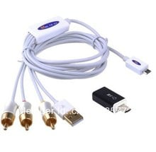 MHL Micro USB to RCA HDTV Adapter AV Cable For Samsung Galaxy S4 S3 S2 S1 HTC One M7 - with 5 Pin to 11 Pin Micro-USB Adapter