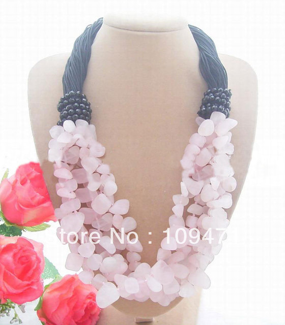 Beautiful! Frosted Rose Crystal&Onyx Necklace