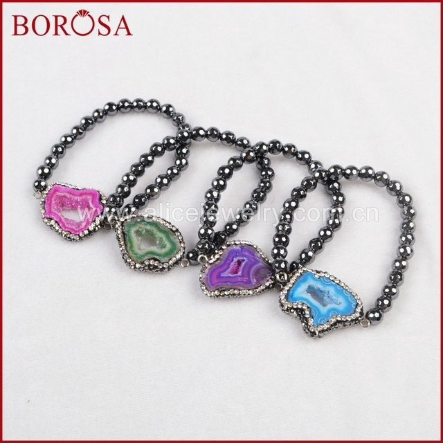 BOROSA Rainbow Stone Druzy Slice Bracelet Paved Zircons & 6mm Magnet Faceted Beads Handcrafted Women Bracelet JAB217