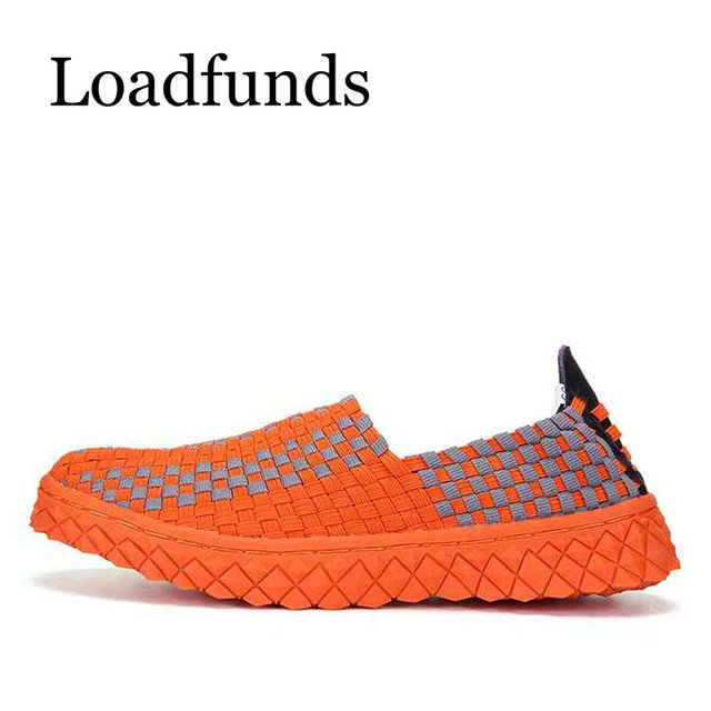 LoadingFunds Size 35-44 Women Woven Shoes FlatPlatform Shoes Slip On Casual Loafers Shoes Bending Non-Slip Air Mesh Breathable