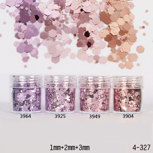 1 Box Purple Golden Rose Nail Glitter Powder Sequins Mixed Nail Sparkles Shiny Glitter Powder Nail Art Decorations Nail