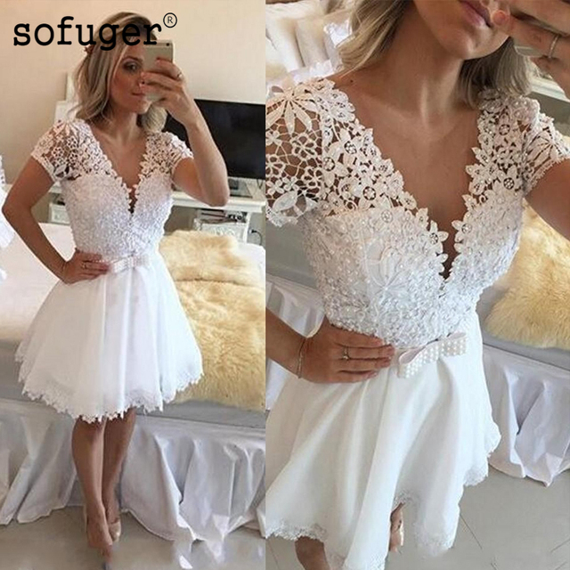 White 2019 Elegant Cocktail Dresses A-line V-neck Cap Sleeves Short Mini Lace Pearls Party Plus Size Homecoming Dresses