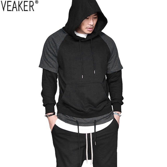 2019 Autumn New Men's Hip Hop Hoodies Sweatshirt Male Fake Two Pieces Hooded Pullover Tops Black Gray Long Sleeve Casual Hoodies