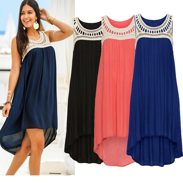 Lace Chiffon Patchwork Sleeveless Beach Midi Dress Casual O Neck Loose Women Summer Voile Hollow Out Dress Lady Holiday Dresses