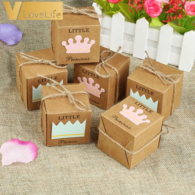 50PCS Candy Box Wedding Gifts for Guests Kraft Boxes with Rustic Burlap Twine Decoration Wedding Party Favors