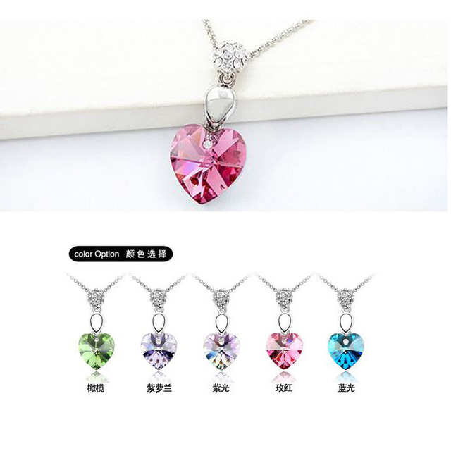 B46 New Fashion Crystal Pendants Necklaces Heart Austrian Rhinestone Wholesale For Women Christmas Gifts