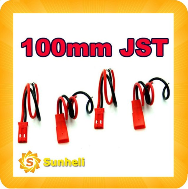 100pairs x 100mm 100 MM 10CM JST CONNECTOR PLUG for RC LIPO BATTERY rc connector Kites & Accessories WHOLESALE