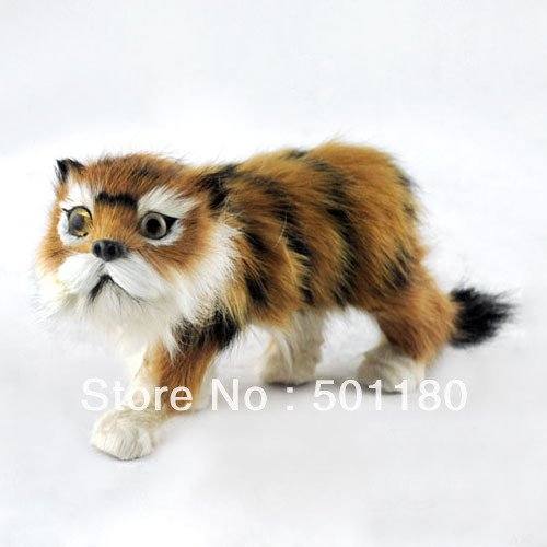 free shipping handmade furry animal toy mini artificial tiger gift decoration artificial crafts  animal figurine
