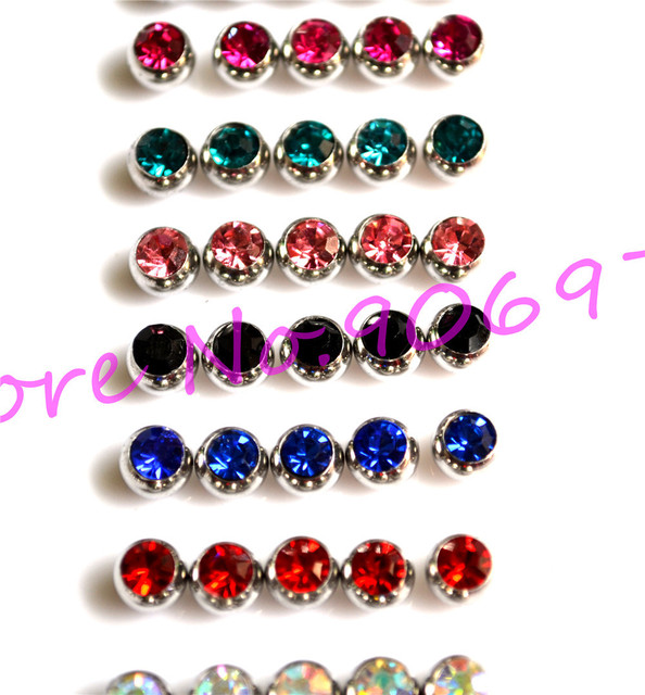 Tongue Bar Ball Jewel Stone Gem Crystal Clear Lip Stud Eyebrow Rind 3mm  6mm 316l Stainless steel Multi Colour Labret  Body Ring