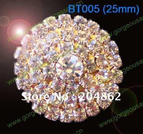 20pcs/lot 25mm Round Clear Czech Crystal rhinestone button Diamante centerpiece Various Colors Gold Sliver Tone For DIY browbads