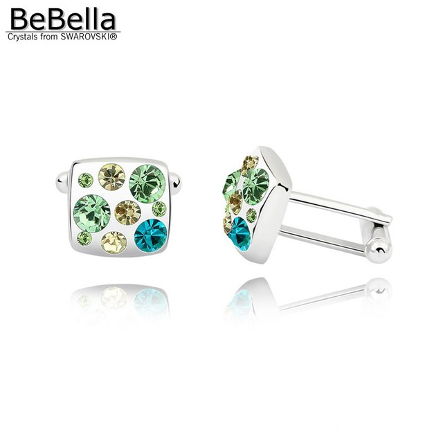 BeBella 4 colors cufflinks created with Crystals from Swarovski Elements original fashion jewelry for men Father's Day gift