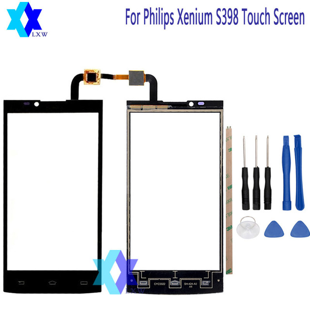 For Philips Xenium S398 Touch Screen Original Guarantee Original New Glass Panel Touch Screen 5.0 inch Tools+Adhesive Stock
