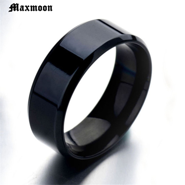 Maxmoon 8mm 316L Stainless Steel Shiny Polished Ring Comfort Fit Men Women Wedding Engagement Band Sizes 5 to 13 Ring wholesale