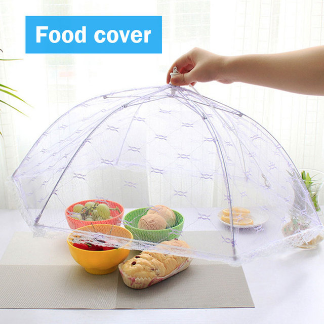 kitchen Lace Mesh Screen Cover Collapsible Umbrella Fly Picnic Food Cover
