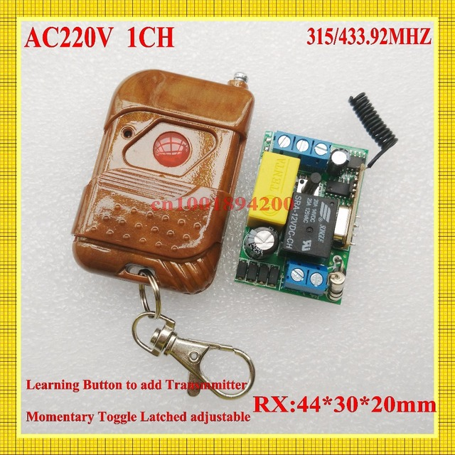 220V Remote Control Power Switches Mini Size Remote Controlled Lighting Switch Momentary Toggle Learning Code 315/433MHZ