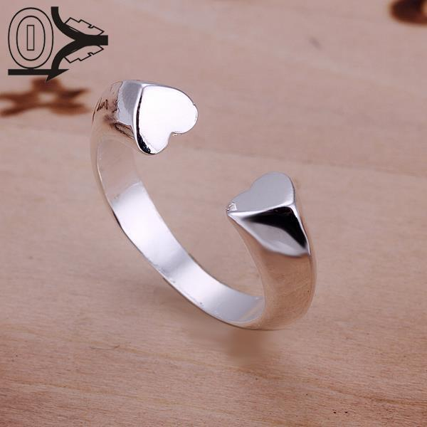 Wholesale Silver-plated Ring,Silver Fashion Jewelry,Heart Opening Jewelry Women&Men Gift Finger Rings