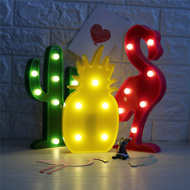 3D LED Night Light Flamingo Pineapple Cactus Night Lamp Romantic Table Decor Lamp Marquee Home Christmas Holiday Decoration LED