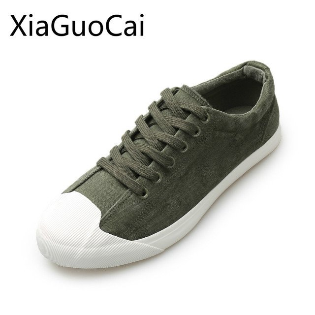 Cowboy Fashion Men Canvas Shoes Low Top Lace Up Male Casual Shoes Round Toe Spring and Autumn Rubber Flat Shoes Lu1 35