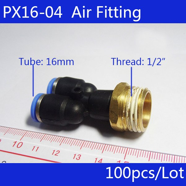 """HIGH QUALITY 100pcs PX16-04, 16mm to 1/2"""" Male Thread Y-shaped Pneumatic Jointer Connector Free shipping"""