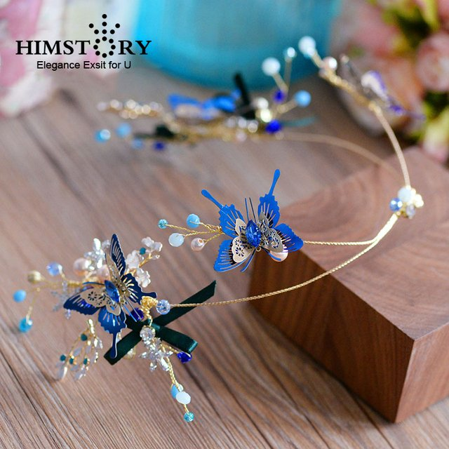 Himstory Unique Blue Butterfly Bridal Wedding Hairbands Handmade Party Hair Jewelry Wedding Tiaras And Crowns Bridal Headband