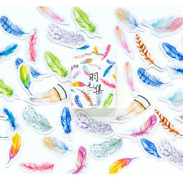 Mo.Card feather mini paper diary sticker Scrapbooking Decoration label 1 lot = 1 pack = 45 pcs