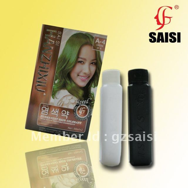 GREEN--30mlx2 permanet hair colorant with vegetable ingredients 20 colors