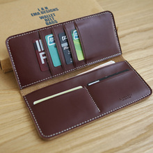 Men's leather long wallet thick lines handmade leather wallet fashion wallet without lining high quality free shipping