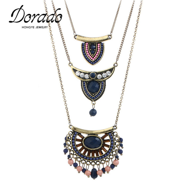 Dorado Vintage Ethnic Bohemian Pendant Necklaces for Women Blue Black Pink Resin Acrylic Beaded Tassel Multi-layer Choker Gifts