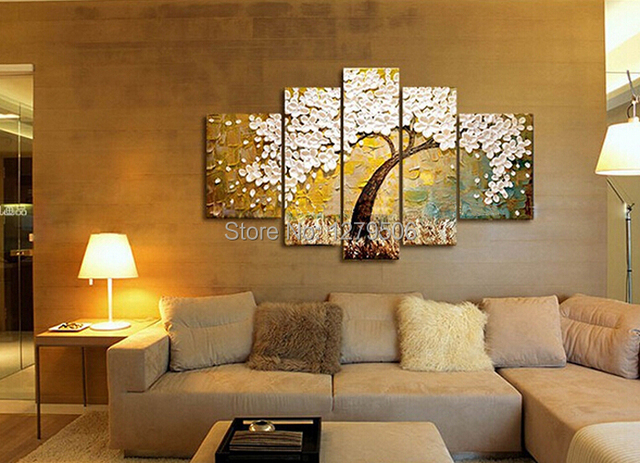 5 Pcs/set 100%  Hand-painted Flower Tree Art Decoration Oil Painting On Canvas Wall Pictures For Living Room
