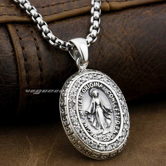 LINSION Virgin Mary JESUS Cross 925 Sterling Silver White CZ Stones Charms Pendant 8A004
