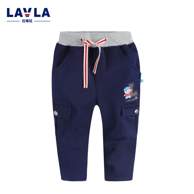 LAVLA  Winter boy trousers pants plus velvet thickening child trousers 100% cotton casual pants baby boys causal pants