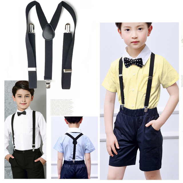 2019 New 15 Colors Adjustable Children Elastic Suspenders Bow Tie Set Boys And Girls Bowtie Wedding Ties Accessories Belt Bowtie