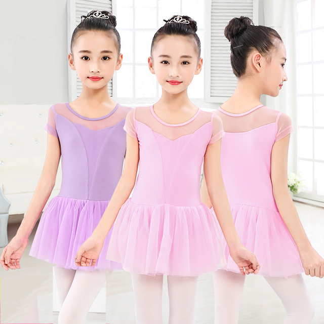 ballet leotard mesh short sleeve ballet dress cotton ballet skirt girls dance dress