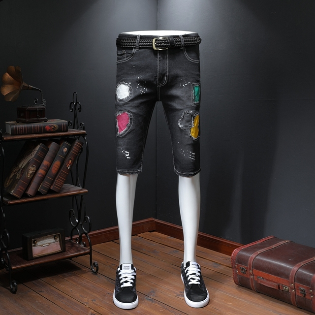 Shorts Denim Men's Graffiti Printed Biker Jeans  Masculino Jeans Skinny Knee Length Homme Zipper Cacual Painted Pants Summer