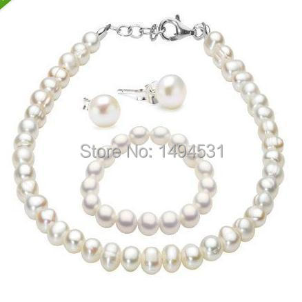 White Color Freshwater Pearl Necklace Bracelet Stud Earrings Jewelry Set , 6-7mm Natural Pearl Jewelry - XZN2