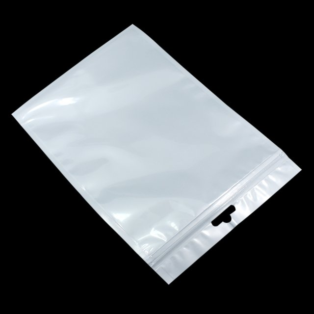 Wholesale 18*26cm White/Clear Self Seal Zipper Plastic Retail Packaging OPP Poly Bag Storage Zip Lock Bag Package W/ Hang Hole