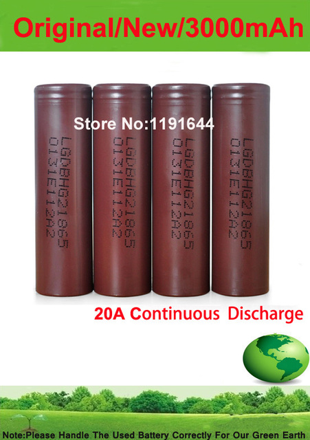Free Shipping!!!10PCS/LOT Authentic 3.6V 18650 INR18650 HG2 3000mAh High Drian 20A Battery for LG