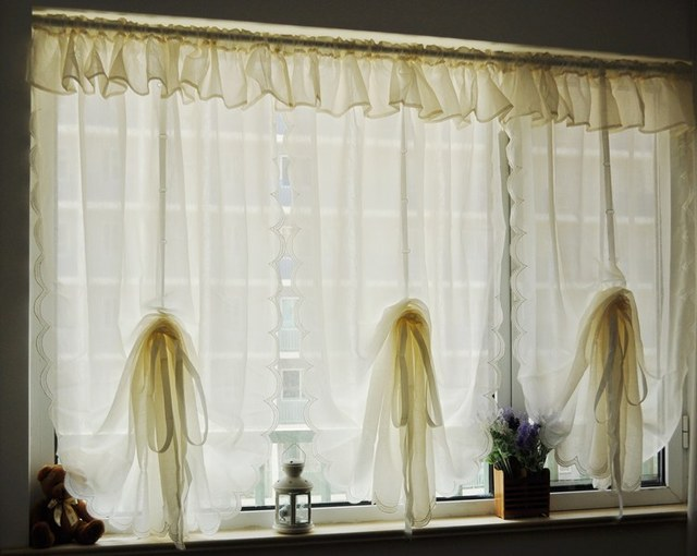 Classic pastoral ruffle flouncing yarn tulle kitchen curtains for living room bedroom drapes waterfall drawstring 120*200/250cm