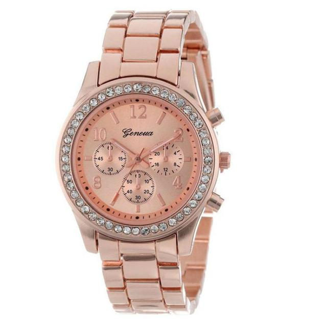 Essential 2016 New Fashion Faux Chronograph Quartz Plated Classic Round Ladies Watch Women Crystals Wristwatches