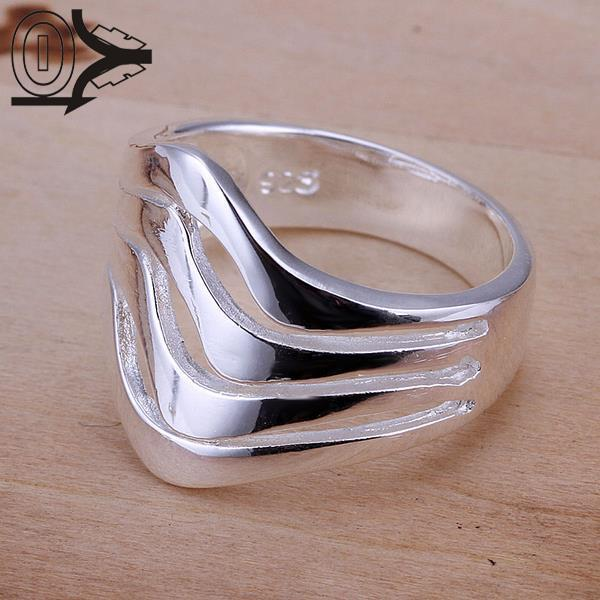 New Arrival Silver-plated Ring,Silver Fashion Jewelry,Women&Men Gift Silver Water Ripples Finger Rings Top Quality