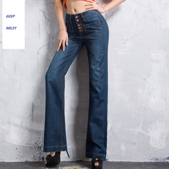 Free Shipping Promotion Women's Breasted High Waist Bell Bottom Jeans Ladys Wide Leg Denim Pants Flares Girls Fashion Trousers