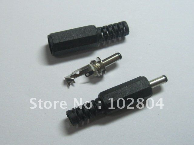 10 pcs Per Lot 3.5x1.3mm DC Power Male Plug Connector Adaptor Plastic Handle Black Head