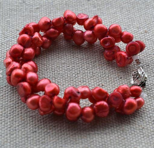 Wholesale Pearl Jewelry, 7 inches Luck Red Genuine Freshwater Pearl Bracelet,6-7mm Twisted, Wedding Bridesmaids Gift Bracelet