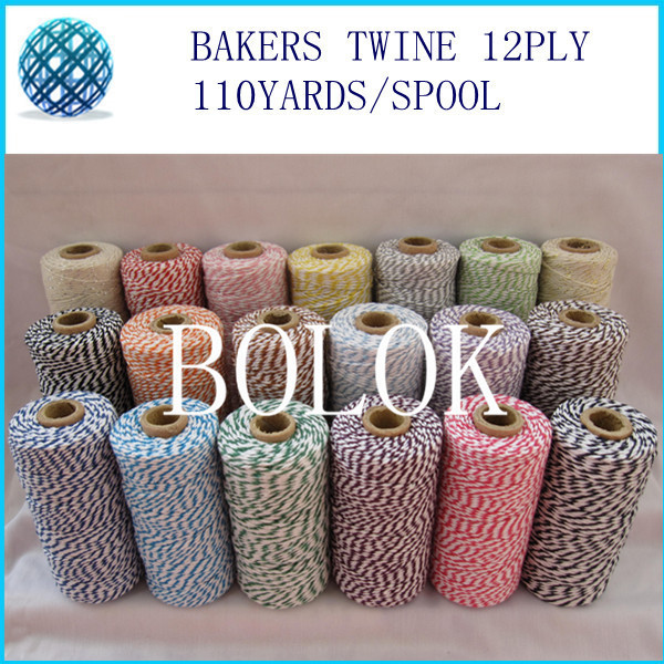 32 kinds color Double colored cotton Baker twine, twine cotton, gift packing twine (110yards/spool)(By EMS)