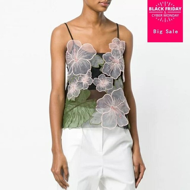2019 Summer Sexy Fashion Floral Vest For Women Sleeveless Embroidery Patchwork Backless Spaghetti Strap Top Q33