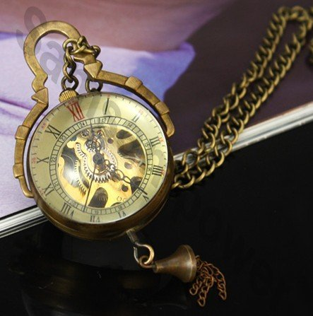 (8045) hot selling 6pcs/lot Steampunk Brass Copper Glass Ball Mechanical Pocket Watch Necklace
