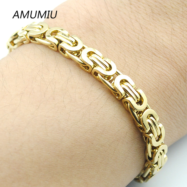 AMUMIU Gold Color Byzantine Link Chain Stainless steel Men Bracelet For Women Pulseira Masculina Wholesale HB004