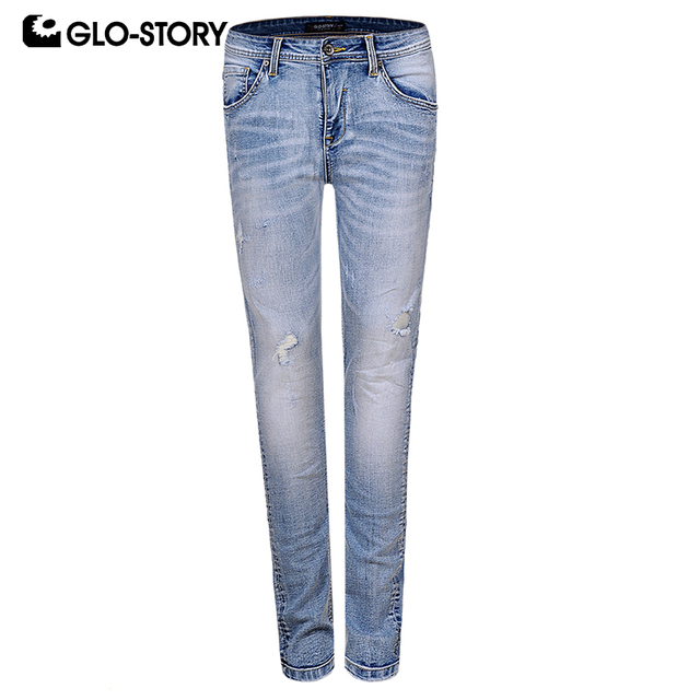 GLO-STORY Men's 2019 Casual Streetwear Full Length Slim Fit Jeans Mascullino Distressed Ripped Skinny Denim Pencil Pants 8209
