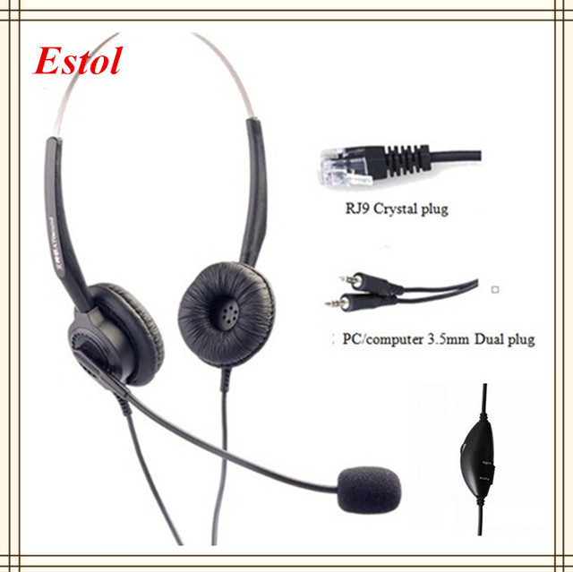 Aiteou 3.5mm dual plugs compluter headset volume adjustable mute key call center earphone headphone binaural double ears two ear